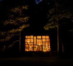 Wall of windows at night